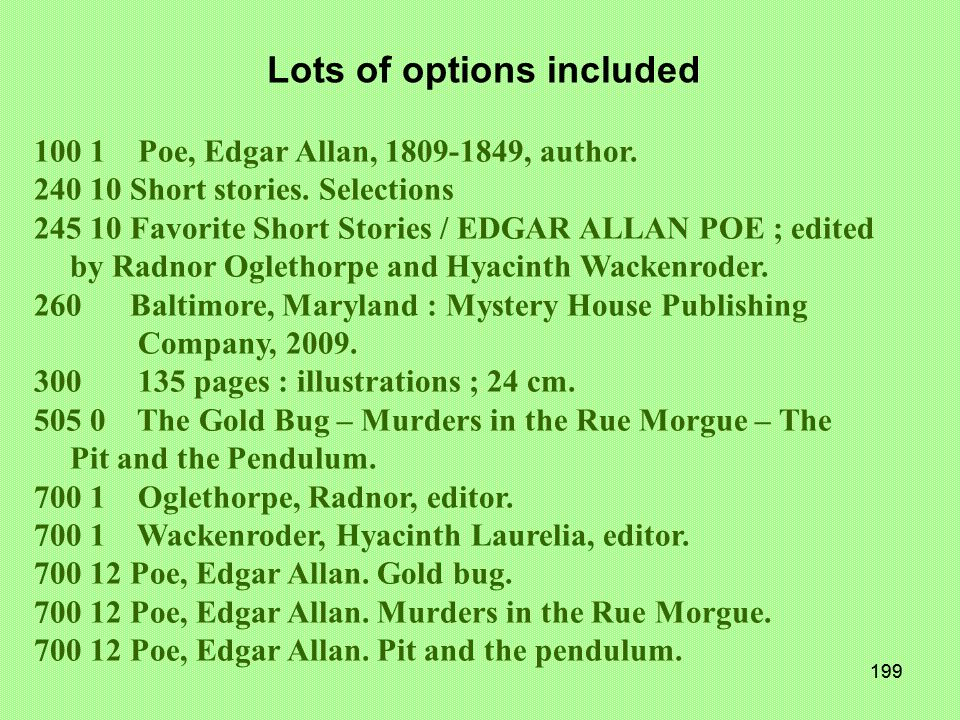 198 EDGAR ALLAN POE Favorite Short Stories The Gold Bug Murders in the Rue Morgue The Pit and the Pendulum Edited by Radnor Oglethorpe and Hyacinth Wa