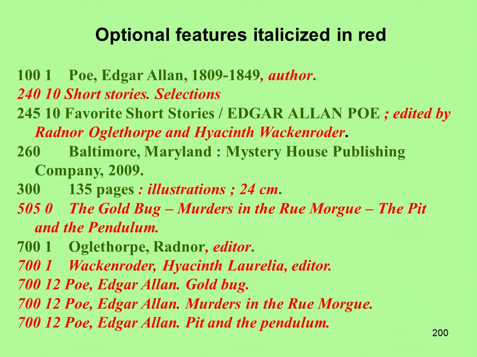 199 100 1 Poe, Edgar Allan, 1809-1849, author. 240 10 Short stories.