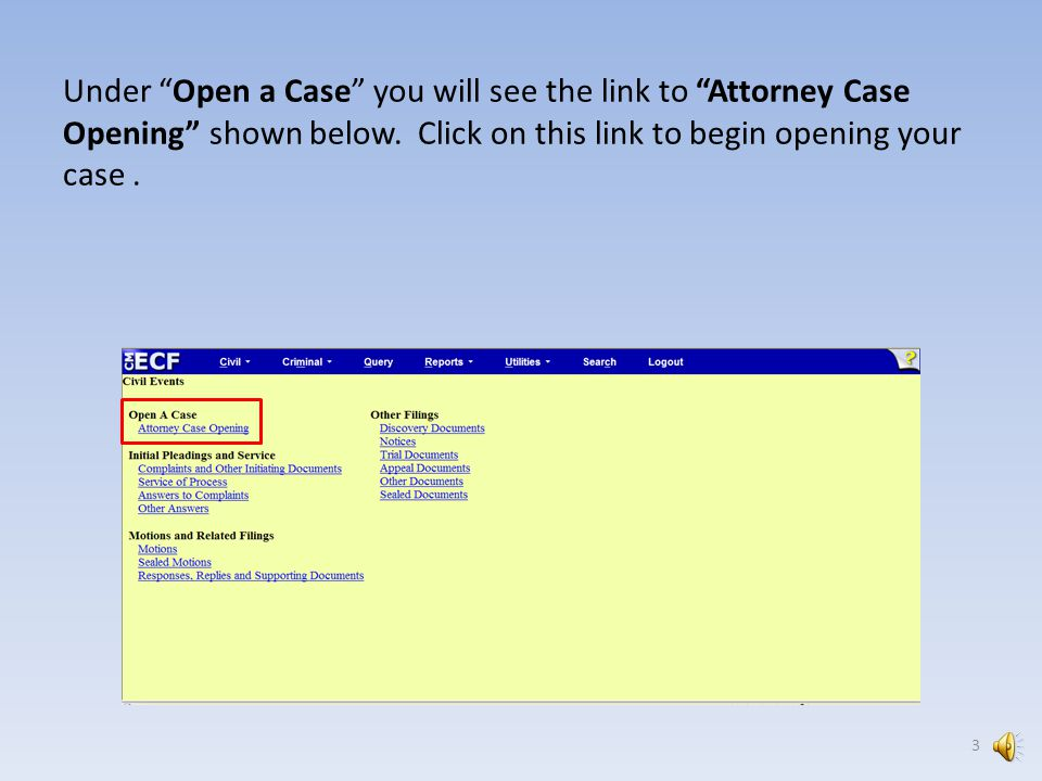 Do not start opening your case unless you are prepared to post your initiating document(s).