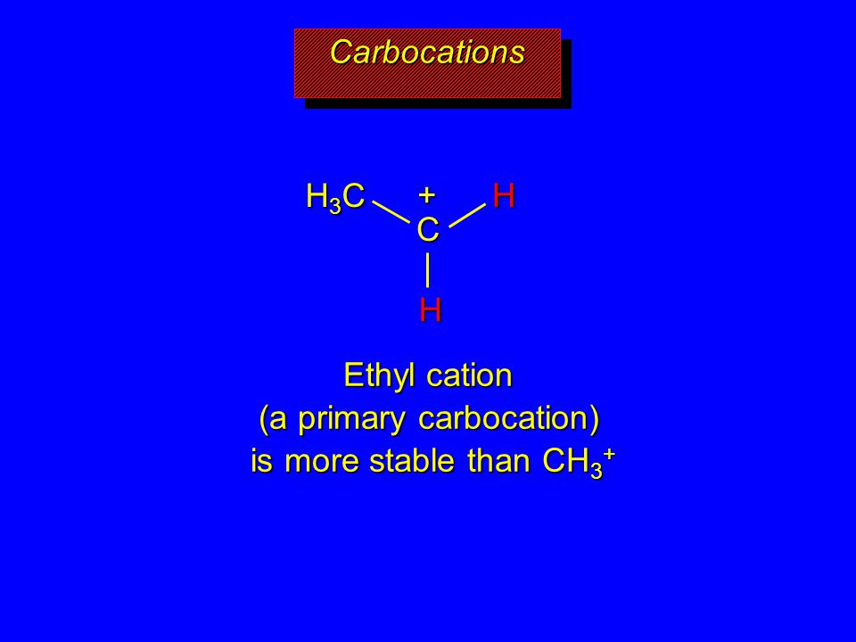 CarbocationsCarbocations C H3CH3CH3CH3C H H + Ethyl cation (a primary carbocation) is more stable than CH 3 +