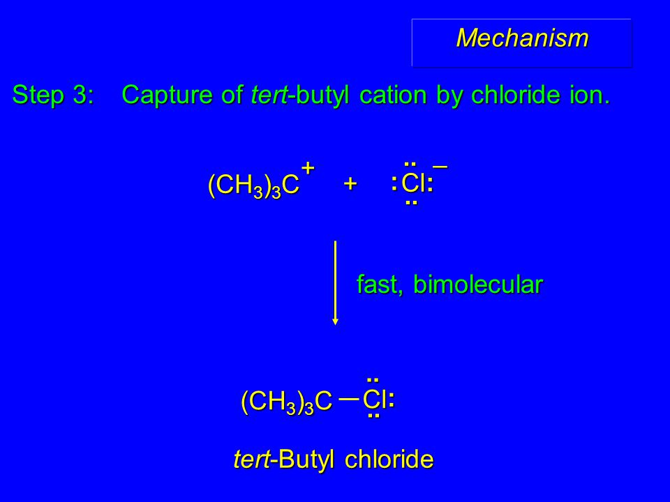 Mechanism Step 3: Capture of tert-butyl cation by chloride ion. fast, bimolecular + (CH 3 ) 3 C + tert-Butyl chloride (CH 3 ) 3 C Cl :.... Cl : :....–