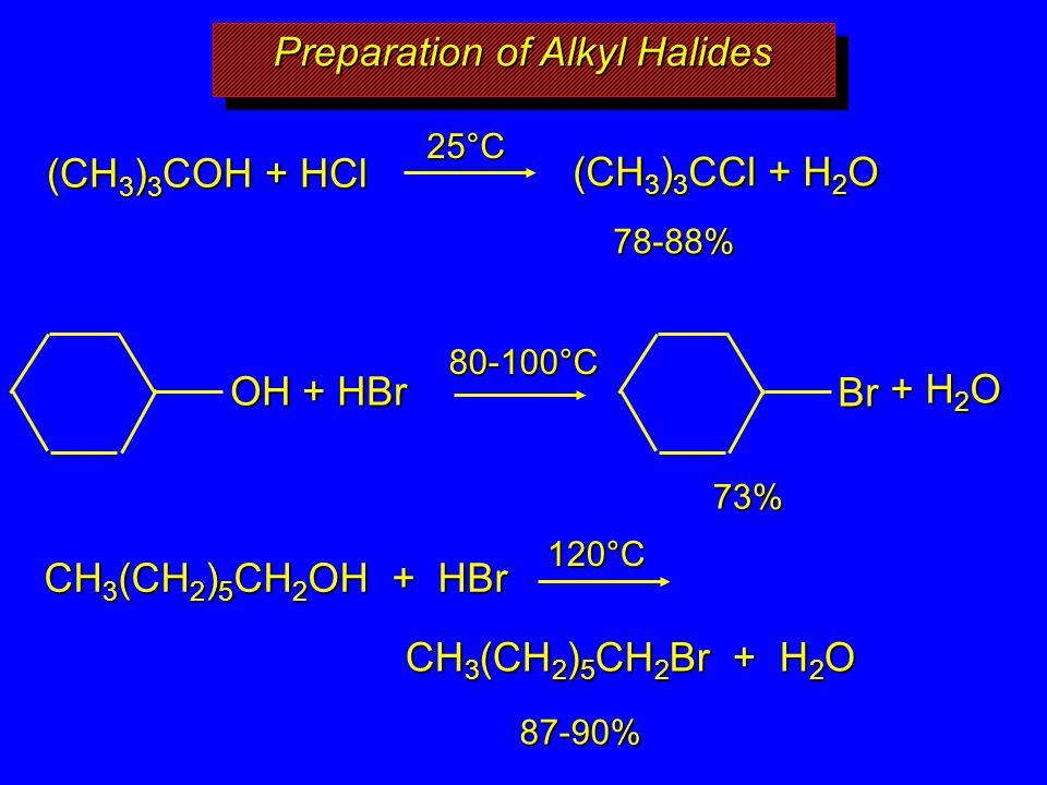 Preparation of Alkyl Halides (CH 3 ) 3 COH + HCl (CH 3 ) 3 CCl + H 2 O 78-88% + H 2 O 73% CH 3 (CH 2 ) 5 CH 2 OH + HBr CH 3 (CH 2 ) 5 CH 2 Br + H 2 O