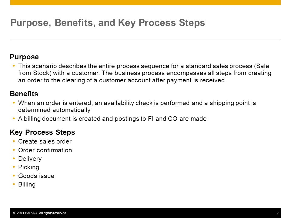 ©2011 SAP AG. All rights reserved.2 Purpose, Benefits, and Key Process Steps Purpose This scenario describes the entire process sequence for a standar