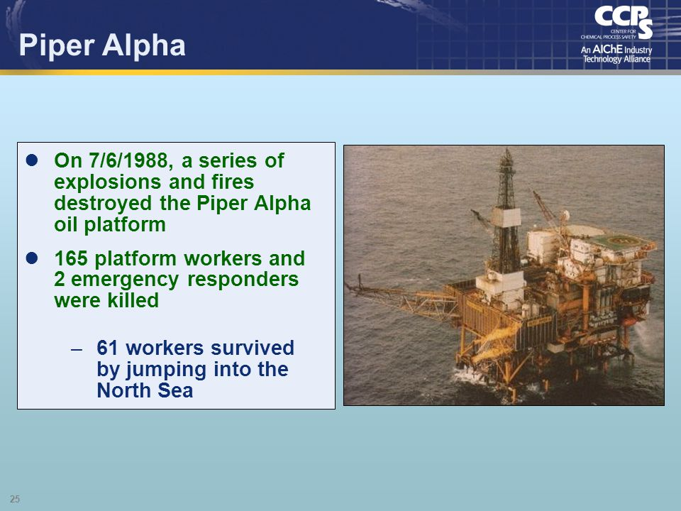 25 Piper Alpha On 7/6/1988, a series of explosions and fires destroyed the Piper Alpha oil platform 165 platform workers and 2 emergency responders we