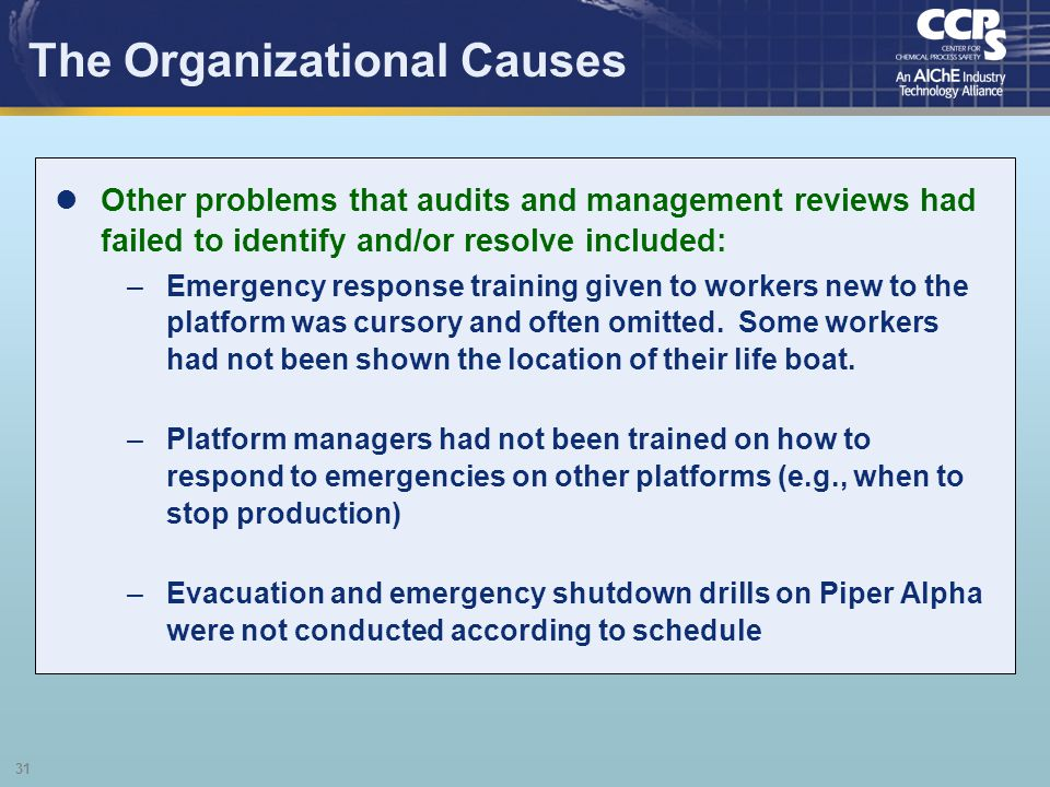 31 The Organizational Causes Other problems that audits and management reviews had failed to identify and/or resolve included: –Emergency response tra