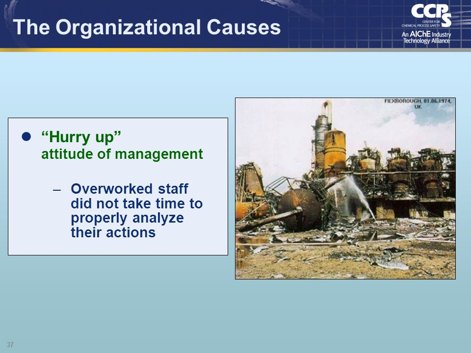 37 The Organizational Causes Hurry up attitude of management –Overworked staff did not take time to properly analyze their actions