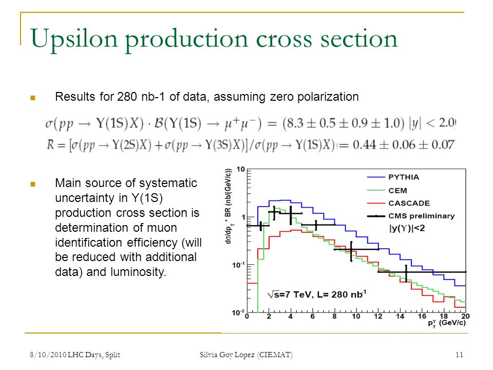 8/10/2010 LHC Days, Split Silvia Goy Lopez (CIEMAT) 11 Upsilon production cross section Results for 280 nb-1 of data, assuming zero polarization Main