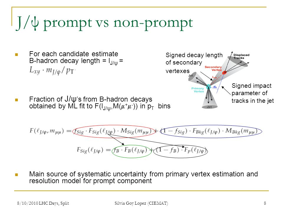 8/10/2010 LHC Days, Split Silvia Goy Lopez (CIEMAT) 8 J/ψ prompt vs non-prompt Signed decay length of secondary vertexes Signed impact parameter of tr