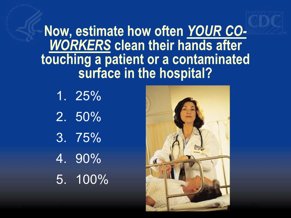 Now, estimate how often YOUR CO- WORKERS clean their hands after touching a patient or a contaminated surface in the hospital? 1.25% 2.50% 3.75% 4.90%