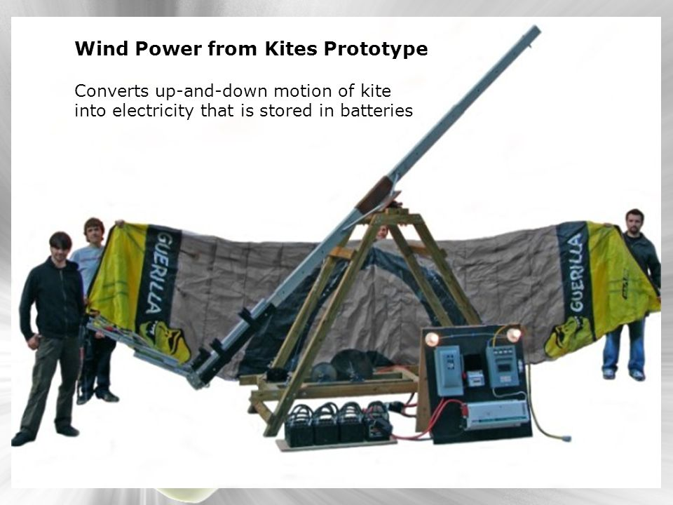Wind Power from Kites Prototype Converts up-and-down motion of kite into electricity that is stored in batteries