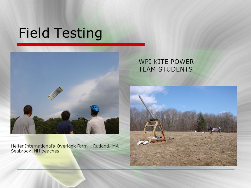 Field Testing WPI KITE POWER TEAM STUDENTS Heifer Internationals Overlook Farm – Rutland, MA Seabrook, NH beaches