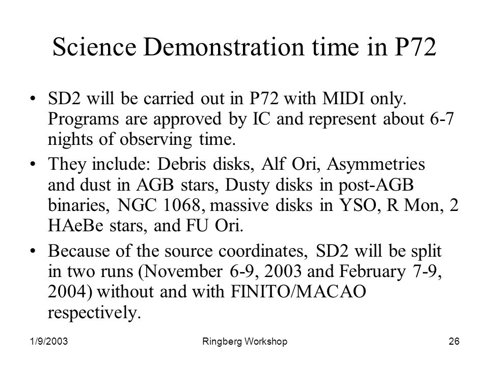 1/9/2003Ringberg Workshop26 Science Demonstration time in P72 SD2 will be carried out in P72 with MIDI only.