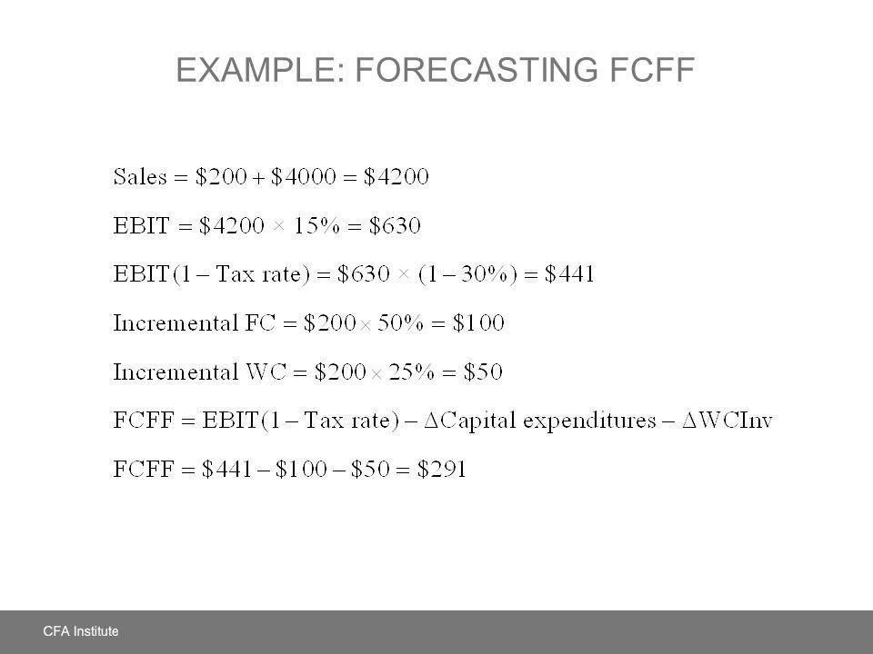 EXAMPLE: FORECASTING FCFF