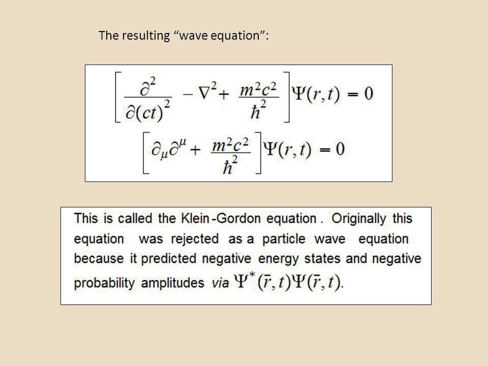 The resulting wave equation: