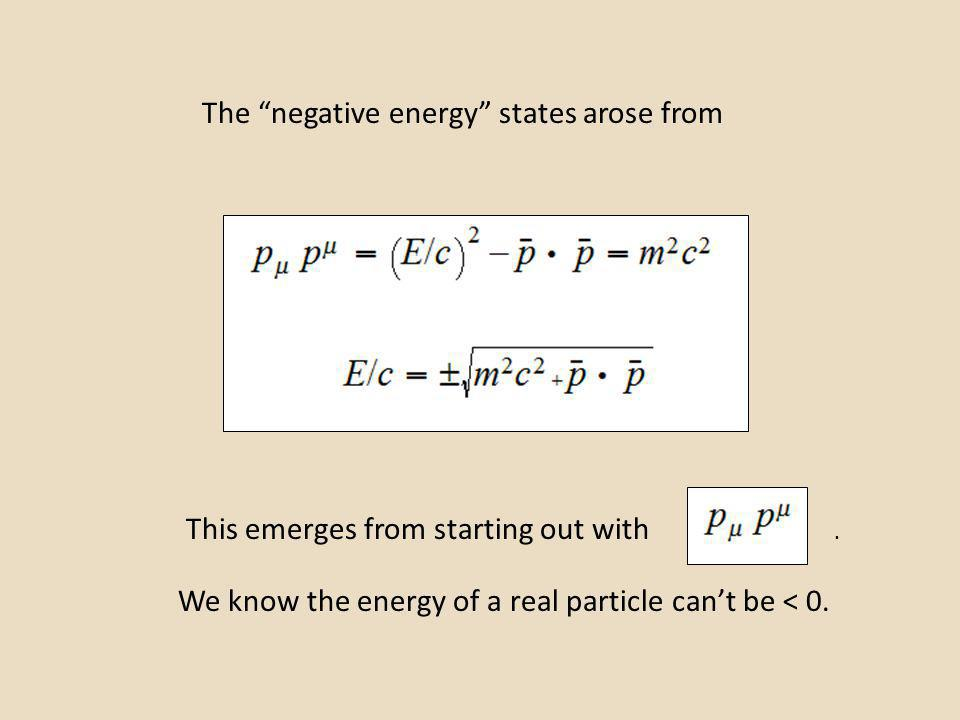 The negative energy states arose from This emerges from starting out with We know the energy of a real particle cant be < 0..