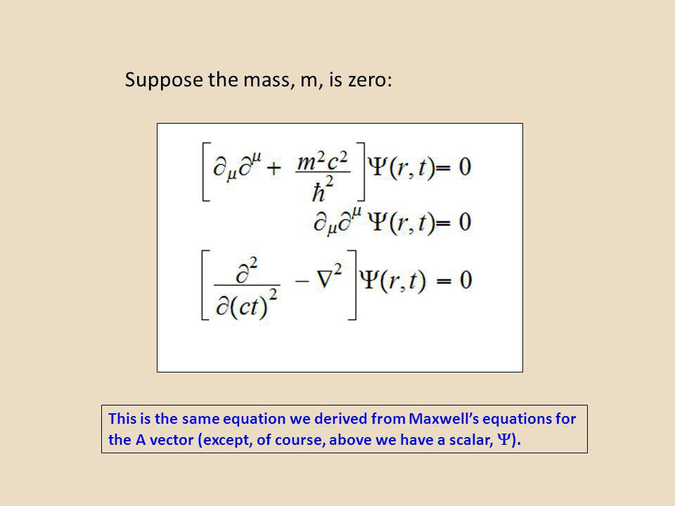 Suppose the mass, m, is zero: This is the same equation we derived from Maxwells equations for the A vector (except, of course, above we have a scalar