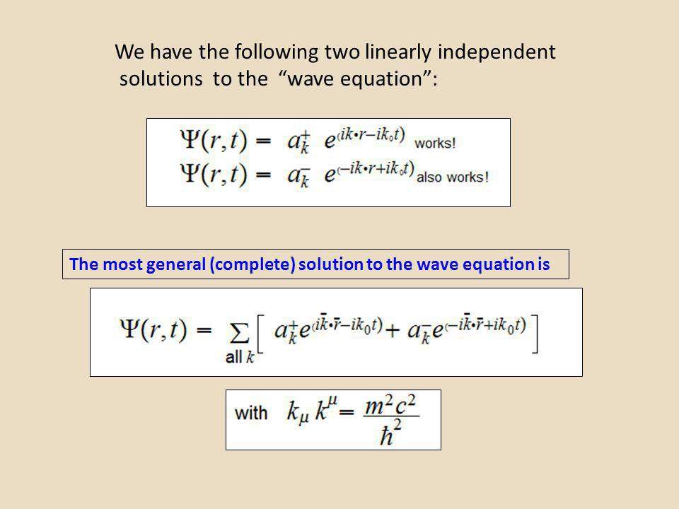 We have the following two linearly independent solutions to the wave equation: The most general (complete) solution to the wave equation is