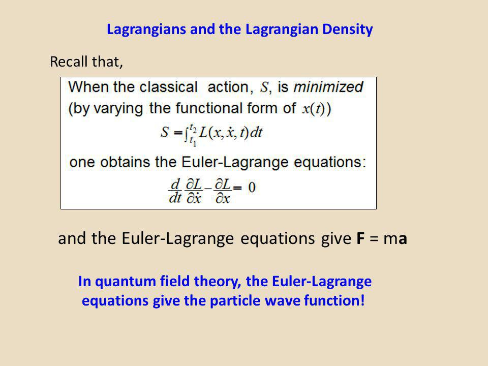 In quantum field theory, the Euler-Lagrange equations give the particle wave function! Lagrangians and the Lagrangian Density Recall that, and the Eul