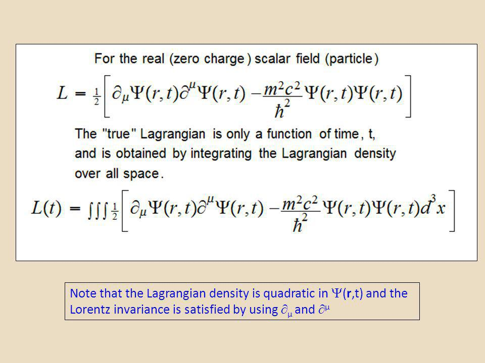 Note that the Lagrangian density is quadratic in (r,t) and the Lorentz invariance is satisfied by using µ and µ