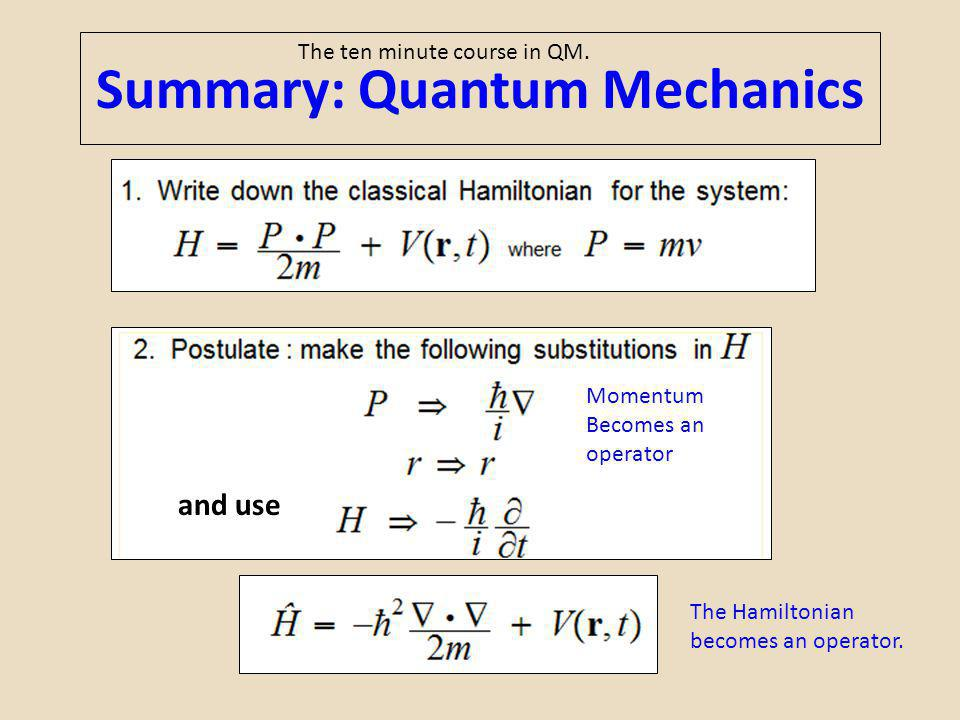 Summary: Quantum Mechanics Momentum Becomes an operator The ten minute course in QM. and use The Hamiltonian becomes an operator.