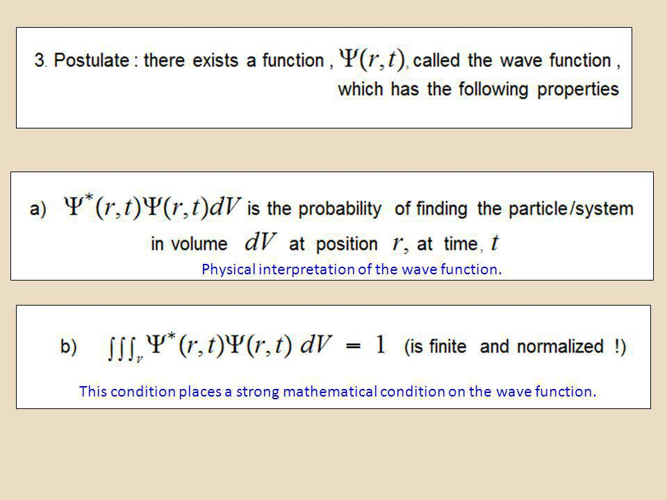 This condition places a strong mathematical condition on the wave function. Physical interpretation of the wave function.