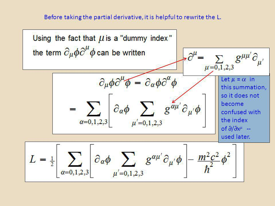 Before taking the partial derivative, it is helpful to rewrite the L. Let = in this summation, so it does not become confused with the index of / x --