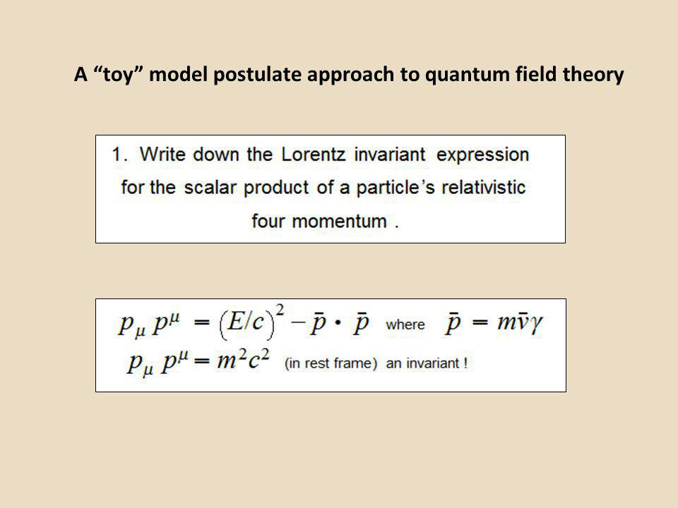 A toy model postulate approach to quantum field theory