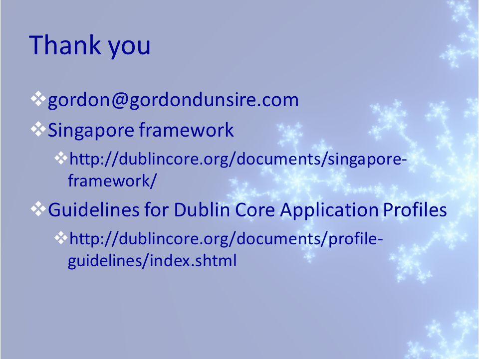 Thank you gordon@gordondunsire.com Singapore framework http://dublincore.org/documents/singapore- framework/ Guidelines for Dublin Core Application Pr
