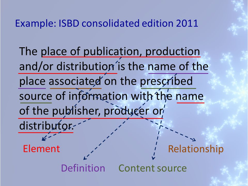 Example: ISBD consolidated edition 2011 The place of publication, production and/or distribution is the name of the place associated on the prescribed