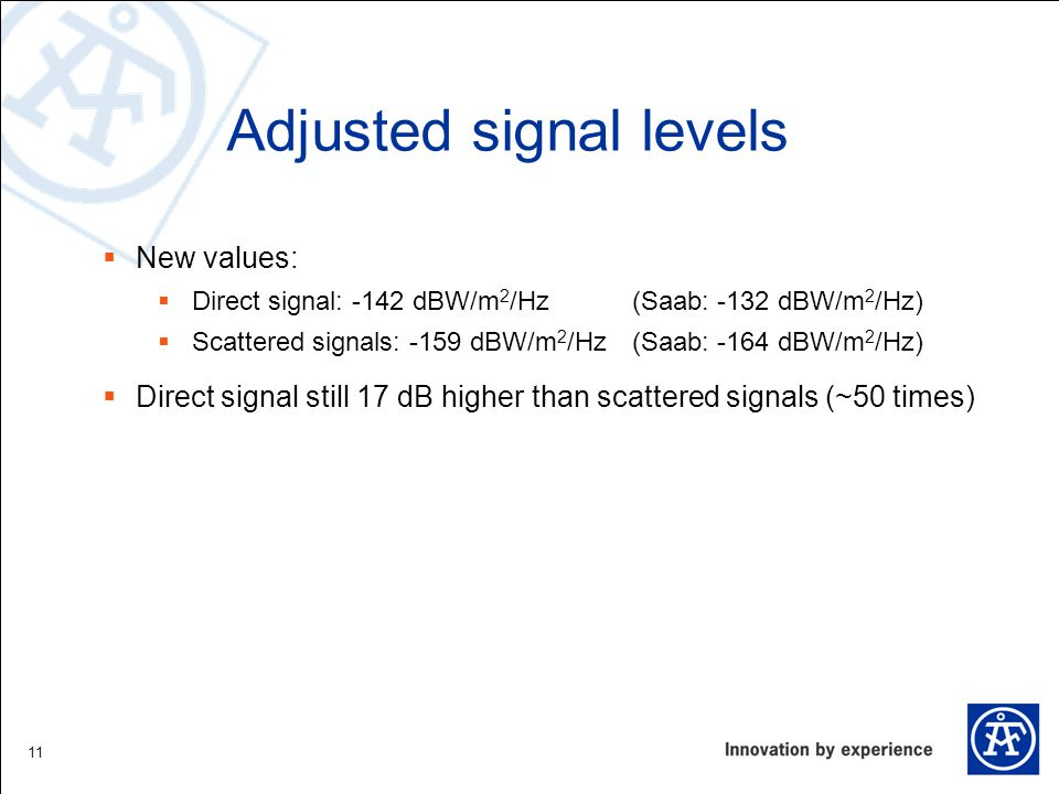 Adjusted signal levels New values: Direct signal: -142 dBW/m 2 /Hz(Saab: -132 dBW/m 2 /Hz) Scattered signals: -159 dBW/m 2 /Hz (Saab: -164 dBW/m 2 /Hz