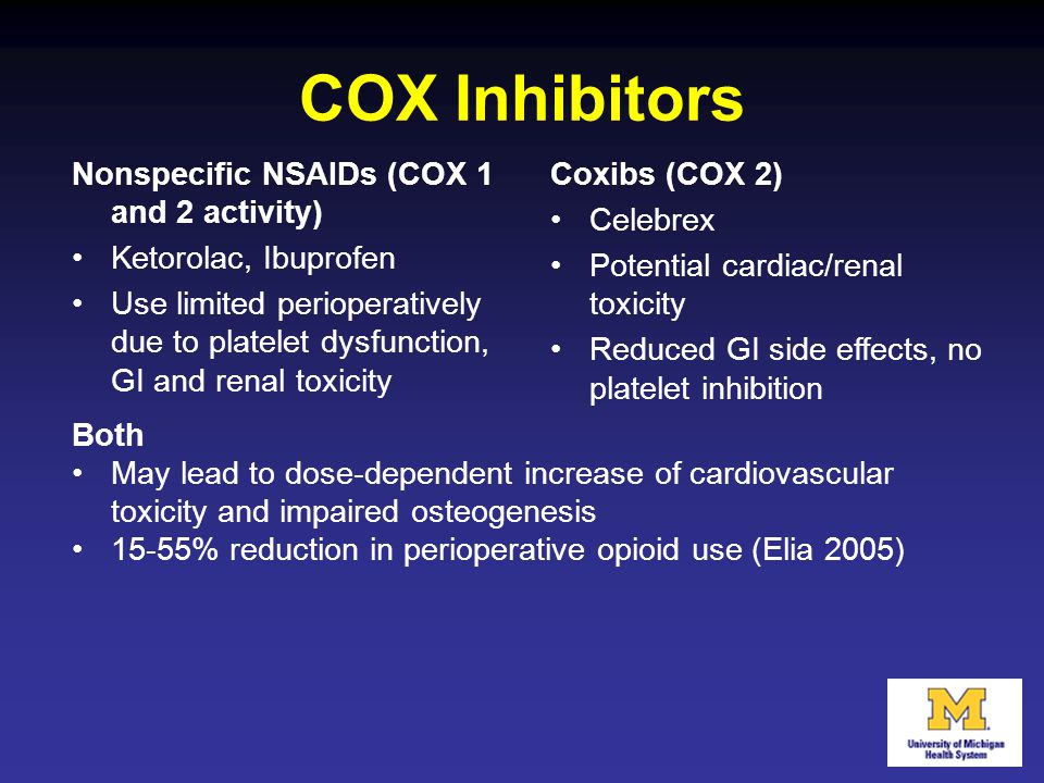 Nonspecific NSAIDs (COX 1 and 2 activity) Ketorolac, Ibuprofen Use limited perioperatively due to platelet dysfunction, GI and renal toxicity Coxibs (