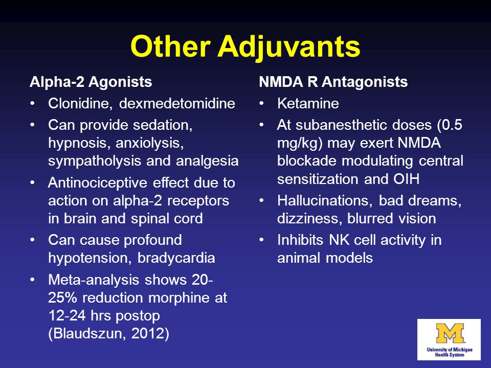 Other Adjuvants Alpha-2 Agonists Clonidine, dexmedetomidine Can provide sedation, hypnosis, anxiolysis, sympatholysis and analgesia Antinociceptive ef