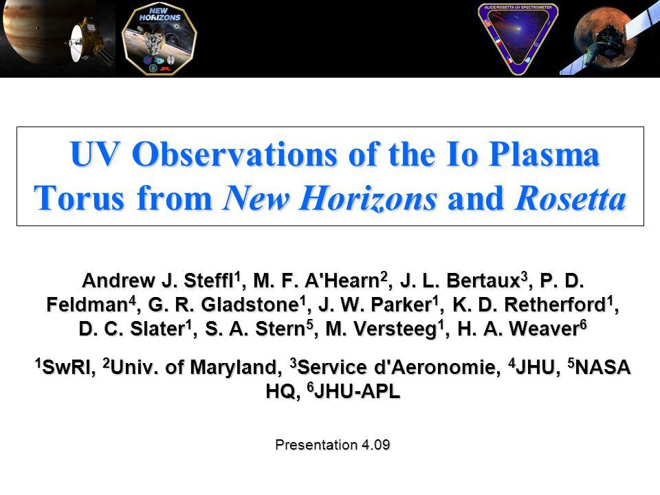 UV Observations of the Io Plasma Torus from New Horizons and Rosetta UV Observations of the Io Plasma Torus from New Horizons and Rosetta Andrew J. St