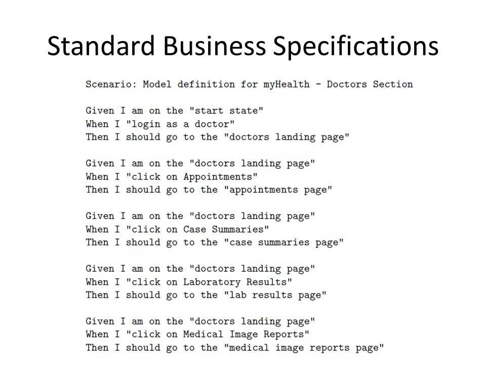Standard Business Specifications