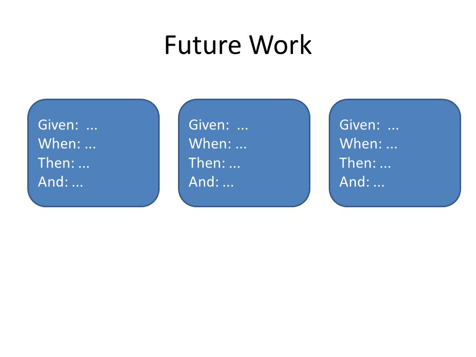 Future Work Given:... When:... Then:... And:...