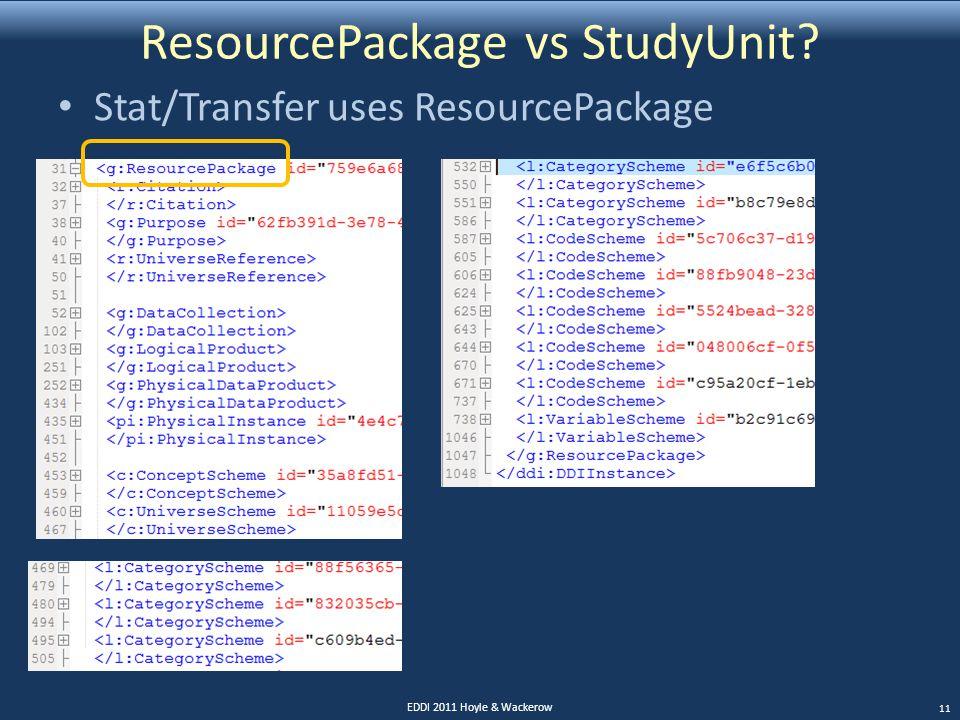 ResourcePackage vs StudyUnit? Stat/Transfer uses ResourcePackage EDDI 2011 Hoyle & Wackerow 11