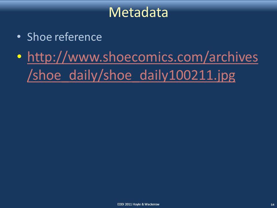 Metadata Shoe reference http://www.shoecomics.com/archives /shoe_daily/shoe_daily100211.jpg http://www.shoecomics.com/archives /shoe_daily/shoe_daily1