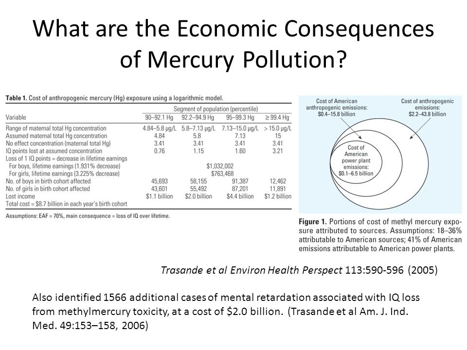What are the Economic Consequences of Mercury Pollution? Trasande et al Environ Health Perspect 113:590-596 (2005) Also identified 1566 additional cas