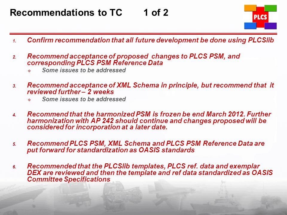 Recommendations to TC 1 of 2 1.