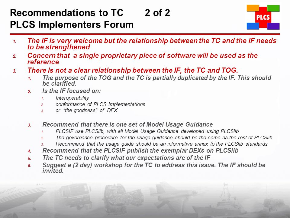 Recommendations to TC 2 of 2 PLCS Implementers Forum 1.