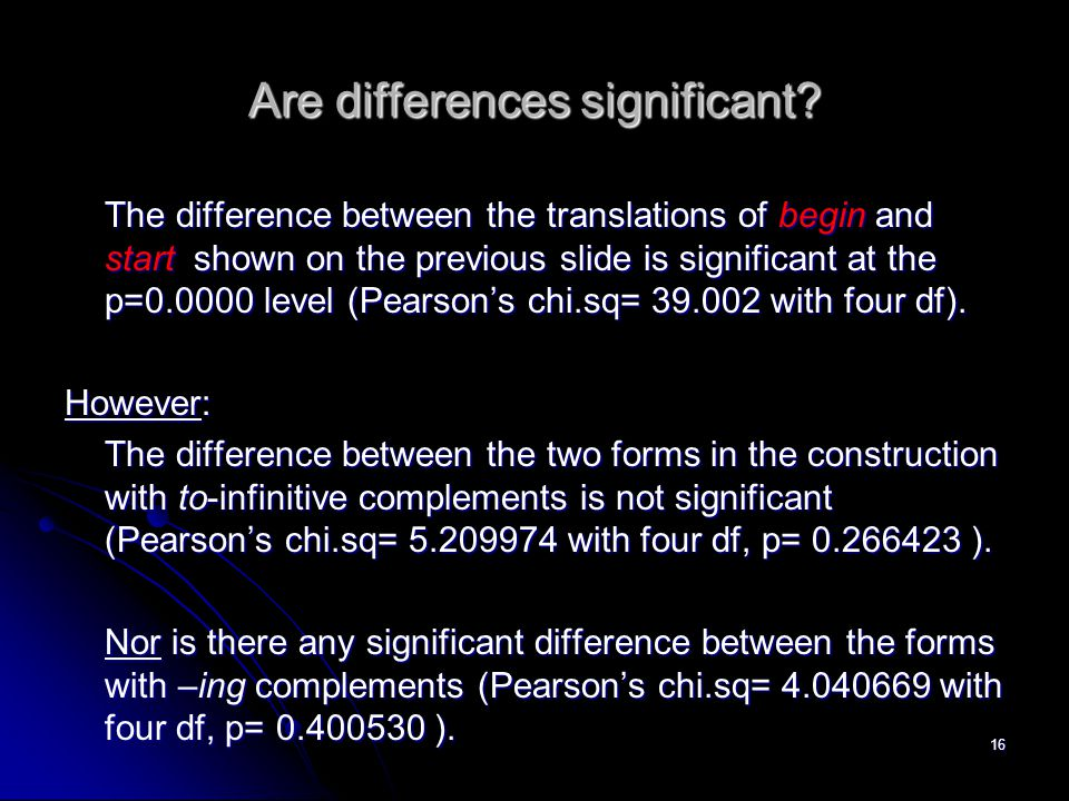 Are differences significant? The difference between the translations of begin and start shown on the previous slide is significant at the p=0.0000 lev