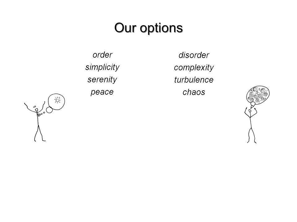 Our options order simplicity serenity peace disorder complexity turbulence chaos