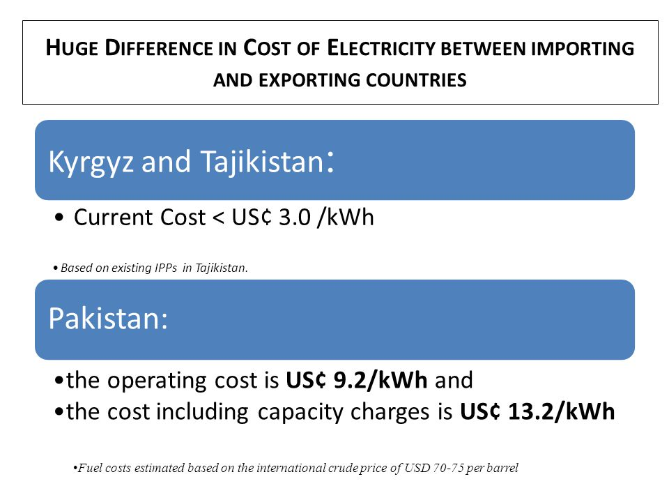 H UGE D IFFERENCE IN C OST OF E LECTRICITY BETWEEN IMPORTING AND EXPORTING COUNTRIES Kyrgyz and Tajikistan : Current Cost < US¢ 3.0 /kWh Based on exis