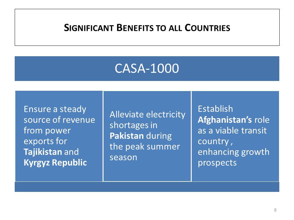 CASA-1000 Ensure a steady source of revenue from power exports for Tajikistan and Kyrgyz Republic Alleviate electricity shortages in Pakistan during t