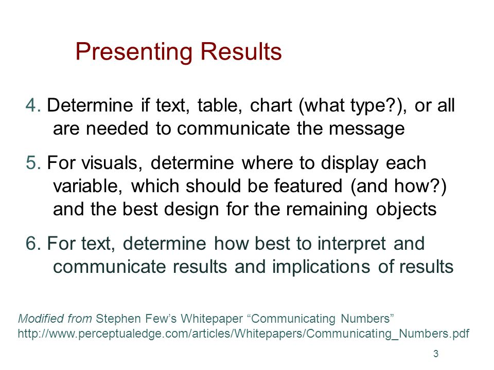3 4. Determine if text, table, chart (what type?), or all are needed to communicate the message 5.