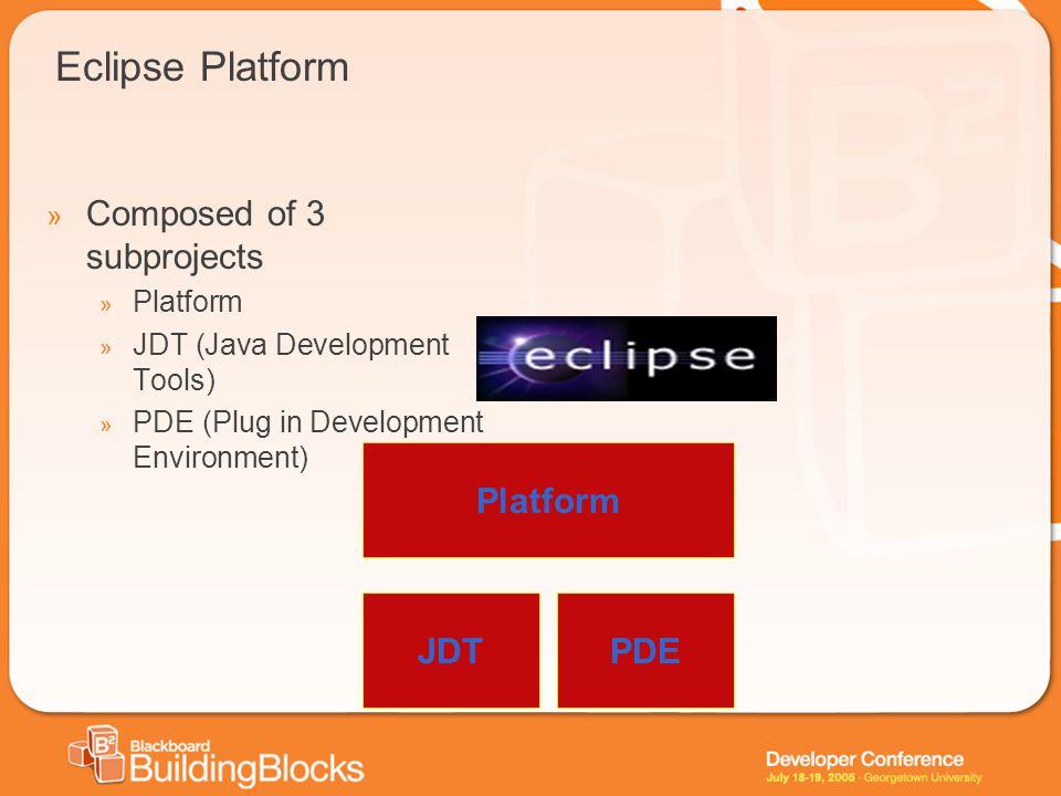 Eclipse Platform » Composed of 3 subprojects » Platform » JDT (Java Development Tools) » PDE (Plug in Development Environment) Platform JDTPDE