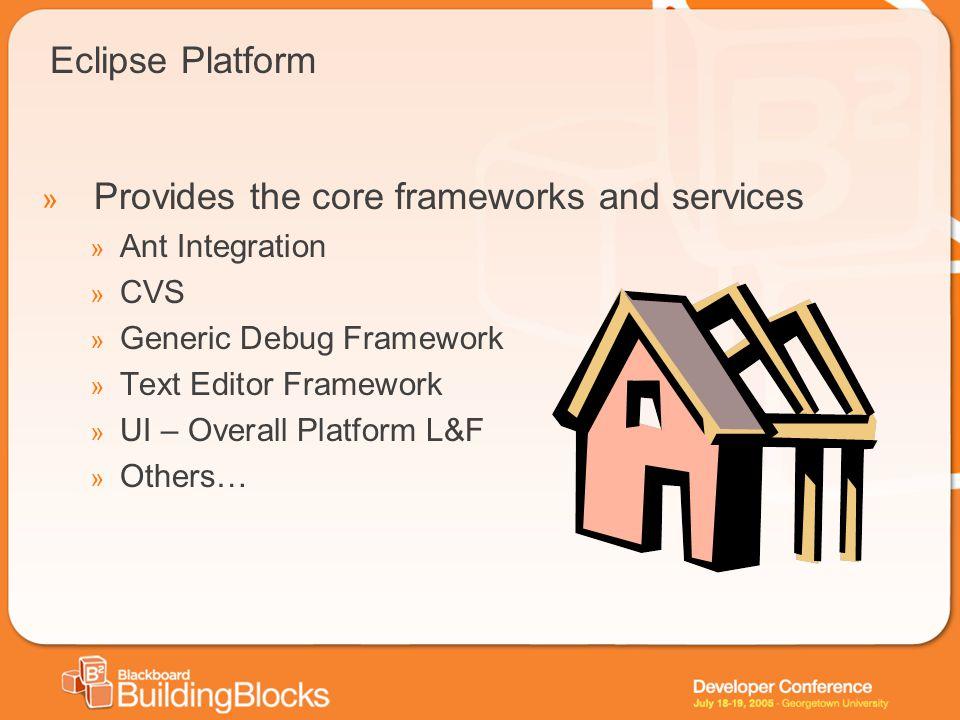 Eclipse Platform » Provides the core frameworks and services » Ant Integration » CVS » Generic Debug Framework » Text Editor Framework » UI – Overall