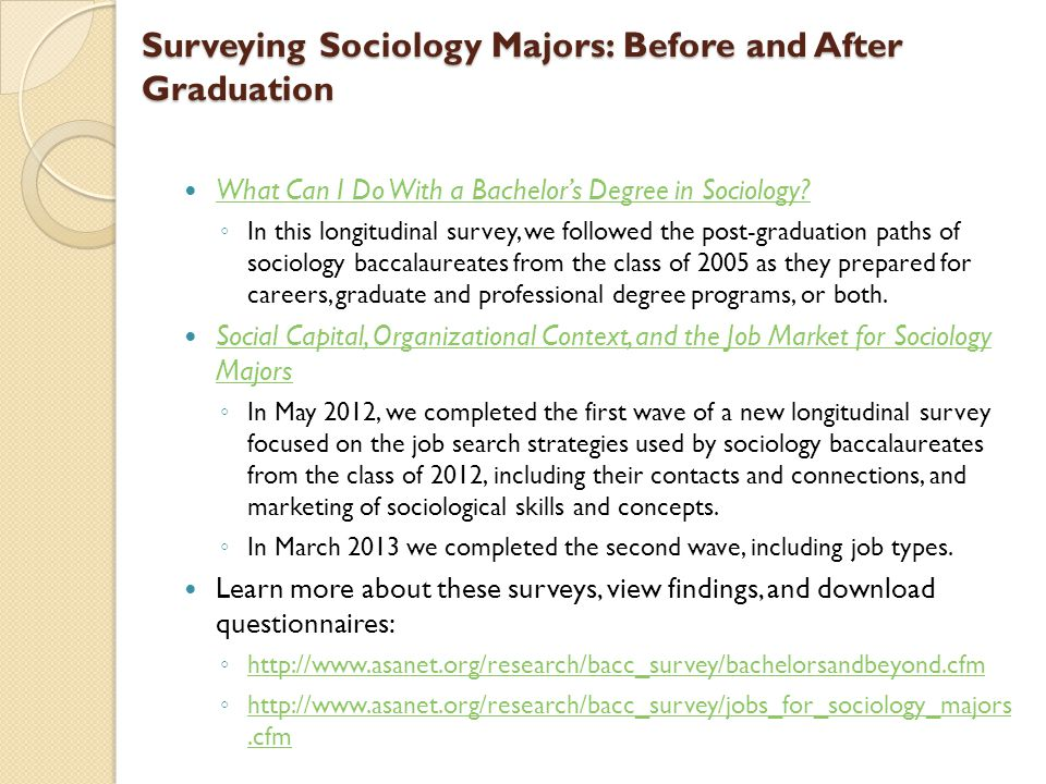 Surveying Sociology Majors: Before and After Graduation What Can I Do With a Bachelors Degree in Sociology.