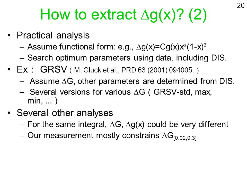How to extract g(x)? (2) Practical analysis –Assume functional form: e.g., g(x)=Cg(x)x (1-x) –Search optimum parameters using data, including DIS. Ex