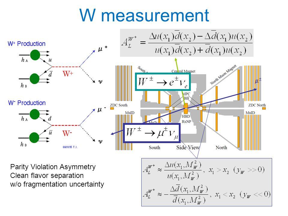 Parity Violation Asymmetry Clean flavor separation w/o fragmentation uncertainty W measurement